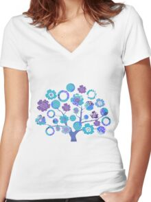 tree of life - blue blossoms Women's Fitted V-Neck T-Shirt