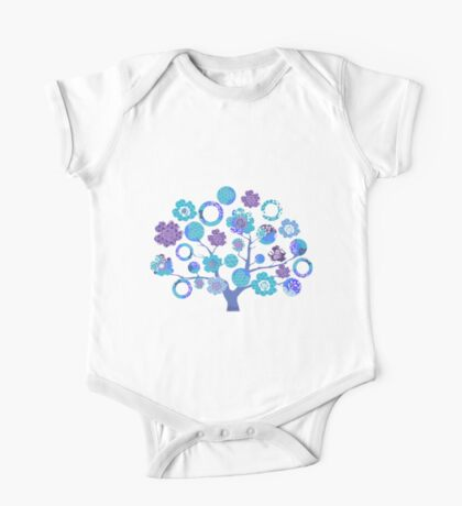 tree of life - blue blossoms One Piece - Short Sleeve