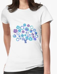 tree of life - blue blossoms Womens Fitted T-Shirt