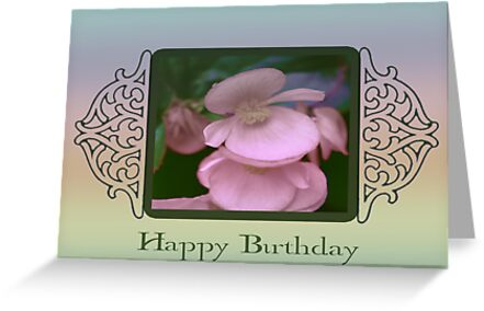 Happy Birthday With Begonia Blossoms by Sandra Foster