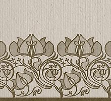 russian ethnic flowers pattern sepia by bymuravka