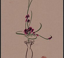 Life  -  Sumi e  Ikebana Zen drawing by Rebecca Rees