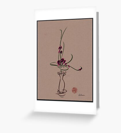Life  -  Sumi e  Ikebana Zen drawing Greeting Card