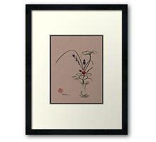 Autumn Chill - Sumi e  Ikebana Zen drawing Framed Print