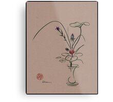 Autumn Chill - Sumi e  Ikebana Zen drawing Metal Print
