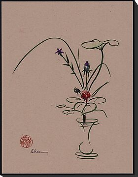 Autumn Chill - Sumi e  Ikebana Zen drawing by Rebecca Rees