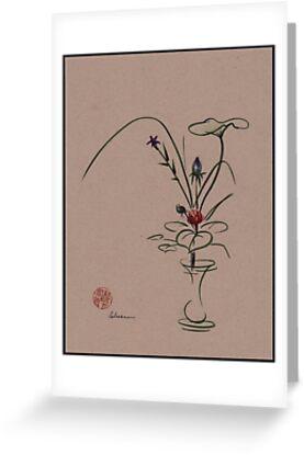 Autumn Chill - Sumi e  Ikebana Zen drawing by Rebecca Rees