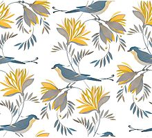 pretty bird pattern with yellow flower Photographic Print
