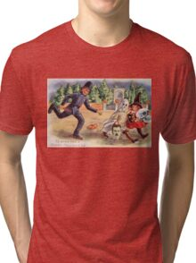 Young Graverobbers  (Vintage Halloween Card) Tri-blend T-Shirt