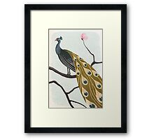 a peacock with pink flower Framed Print