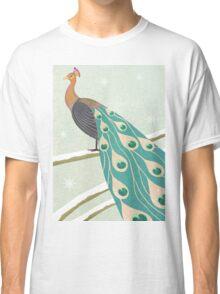 winter christmas peacock Classic T-Shirt