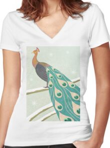 winter christmas peacock Women's Fitted V-Neck T-Shirt