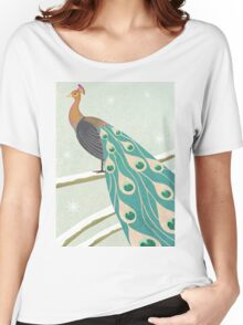 winter christmas peacock Women's Relaxed Fit T-Shirt
