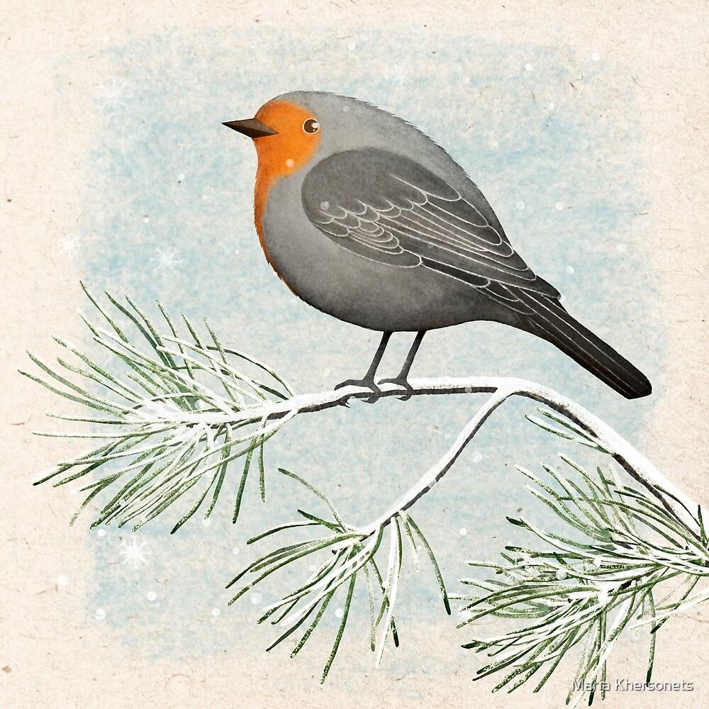 a winter robin by bymuravka
