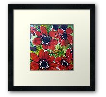 Gorgeous Red Anemones Pattern Framed Print