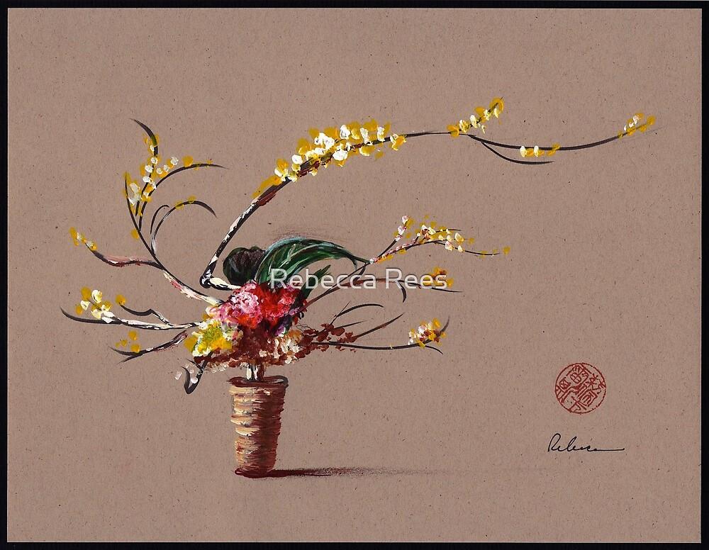 Dance of Spring - Ikebana Zen painting by Rebecca Rees