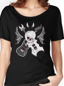 Evil Emo Skull Guitarist ( White version ) Women's Relaxed Fit T-Shirt