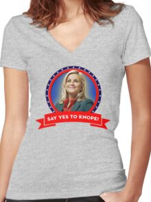 'Say Yes To Knope!', Leslie Knope - Parks & Recreation Women's Fitted V-Neck T-Shirt