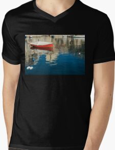 The Red Maltese Boat - a Little Fishing Boat at Anchor Mens V-Neck T-Shirt