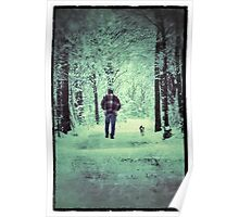 Man and dog in snowy forest Poster