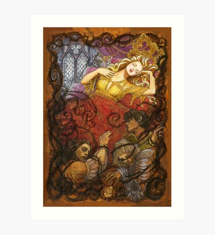 Sleeping Beauty and her dead suitors Art Print