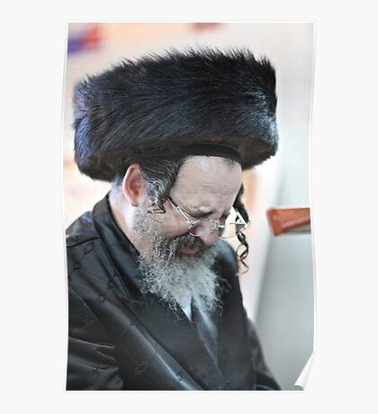 Praying in the Ohel of Rabbi Elimelech. Harcikn Dank ! A dank ojch zejer!   Featured in  Hat Heads. Poster