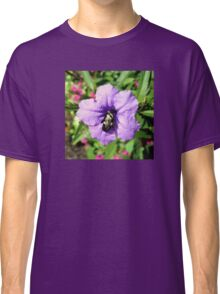 Purple Petunia with a Bee Classic T-Shirt