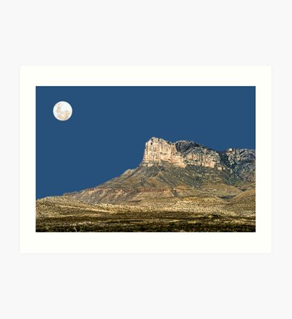 Guadalupe Peak And The Moon Art Print