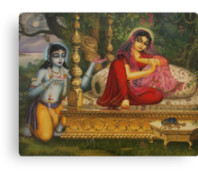 Radha and Krishna Man lila in Vrindavan Canvas Print
