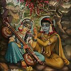 Radha playing vina by Vrindavan Das