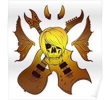 Evil Emo Skull Guitarist ( GOLD version ) Poster