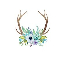 Watercolor flowers and antlers arrangement Photographic Print