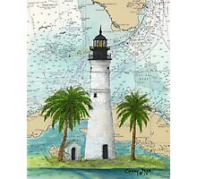 Key West Lighthouse FL Nautical Chart Cathy Peek Photographic Print