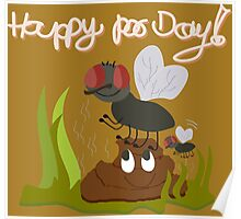 Flies on smiling, smelly poo funny cartoon Poster