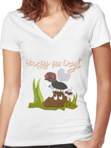 Flies on smiling, smelly poo funny cartoon Women's Fitted V-Neck T-Shirt