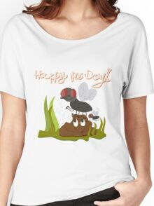Flies on smiling, smelly poo funny cartoon Women's Relaxed Fit T-Shirt