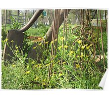 Spring Wildflowers and Rustic Garden Tools Poster