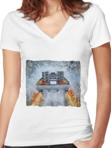 Back To The Future - OUTATIME Women's Fitted V-Neck T-Shirt