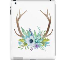 Watercolor flowers and antlers arrangement iPad Case/Skin