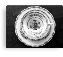Coffee and cake set in b&w Canvas Print