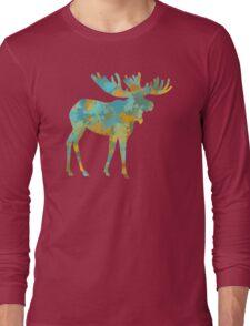 Moose Watercolor Art Long Sleeve T-Shirt