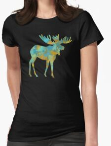 Moose Watercolor Art Womens Fitted T-Shirt