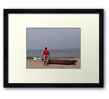 The Boat, The Fisherman And The Ocean - El Barco, El Pescadero Y El Oceano Framed Print