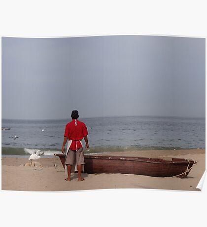 The Boat, The Fisherman And The Ocean - El Barco, El Pescadero Y El Oceano Poster