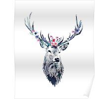 Pointillism (dotty) Deer with flower crown Poster