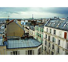 Eiffel Tower over Montmartre rooftops Photographic Print