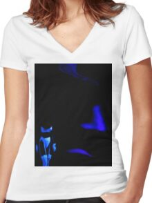Blue Ghosts Women's Fitted V-Neck T-Shirt