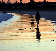 Walking into the sunset - Callala Beach by Paul Todd