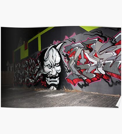 Scary Face Graffiti Poster