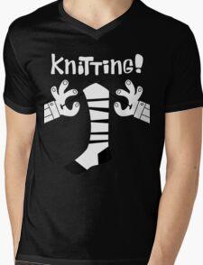Knitting!  Mens V-Neck T-Shirt